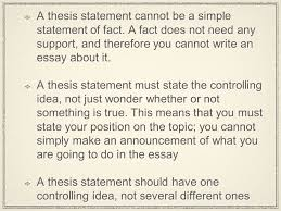 the essay part ii from paragraph to essay expanding the a thesis statement cannot be a simple statement of fact