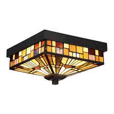 quoizel tfik1611va inglenook 2 light tiffany style outdoor flush mount ceiling light view larger