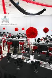 red black white and damask wedding