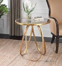 new modern glazed gold metal round accent side end table antiqued mirror top