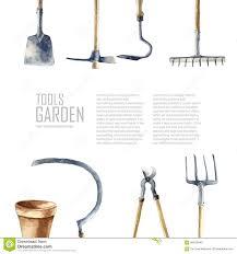 watercolor garden tools set