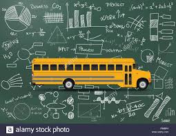 Chart A Bus Illustration Of Yellow School Bus With Chart And Diagrams