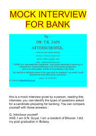 mock interview for banking