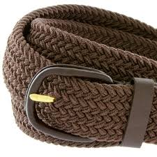 men s leather covered buckle woven elastic stretch belt 7001