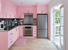 pink wide cabient on the wooden floor it also has small windows design ideas with pink kitchen