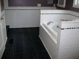 Bathroom Flooring With Ceramic White Subway Tile Useful Reviews