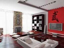 Maroon Living Room Furniture Interior White Wall And Beige Leathered Sofa In Contemporary