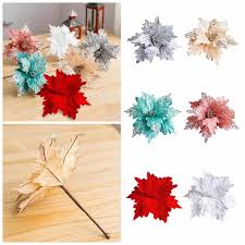 <b>5PCS Glitter</b> Christmas <b>Artificial Flower</b> Tree Hanging Ornaments ...