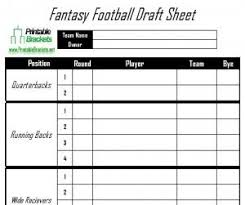 Fantasy Football Draft Sheet Fantasy Football Draft Sheet