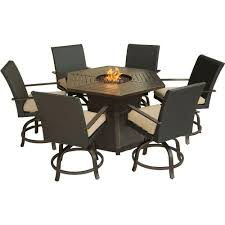 hanover aspen creek 7 piece patio fire pit dining set with natural oat cushions
