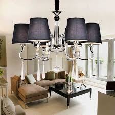 modern led chandeliers navy blue fabric shade 6 arms e27 re crystal chandelier lighting penntes kroonluchter
