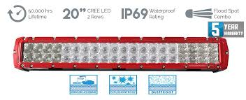 20in Cree Led Light Bar Single Row Cosmoblaze Red 20 Inch 120w Cree Led Light Bar Cosmoblaze