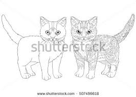 coloring book page doodle outline kitten stock vector 507496618 shutterstock