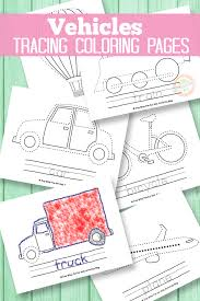 Vehicle Tracing Coloring Pages | Transportation, Activities and School