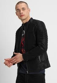 onssacho faux leather jacket black