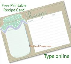 Free Recipe Cards Cookbook People