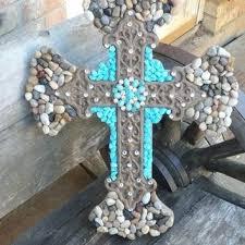 cross wall art decorative stacked cross wooden cross crosses western cross metal wall art