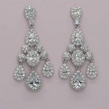 cubic zirconia chandelier bridal earrings