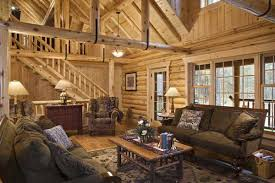 log home living rooms Living room with U straps