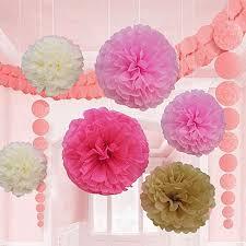 Diy Flower Balls Tissue Paper 18 Pcs Pink Ivory And Beige Tissue Paper Flower Pom Pom Balls 8 10 And 14 Inch Party Favor Flower Balls Hanging Decor Party Decoration Great Diy Kit
