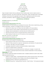Professional Summary Examples For Resume For Customer Service