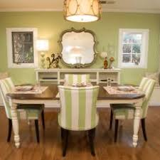 green upholstered chairs. Green Dining Room With Striped Upholstered Chairs