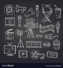 Cinema Doodle Icons On Black Chalkboard