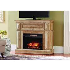 mantel console infrared electric fireplace in natural beige