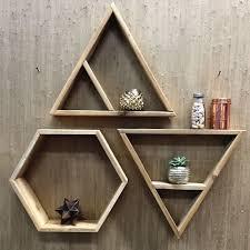 diy wall decor hexagon shelves