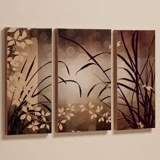 brown wooden triptych canvas wall art contemporary celebrate elegance leaves vintage classic concept themed