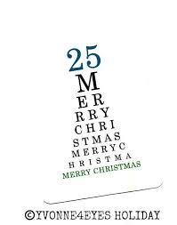 Christmas Merry Christmas Eye Chart Card December 25 Paper