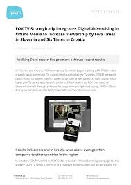 FOX TV Strategically Integrates Digital Advertising in Online Media to  Increase Viewership by Five Times in Slovenia and Six Tim