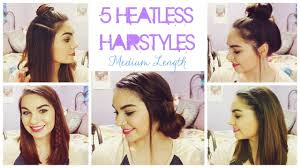 5 Heatless Hairstyles for Summer! // Medium Length Hair - YouTube