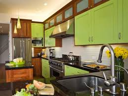 Contemporary Green Painted Wooden Kitchen Cabinets Using Black
