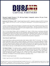 dcp morningstar rating press release jpg durand capital partners us all cap equity composite receives 10 year 5 star rating from morningstar