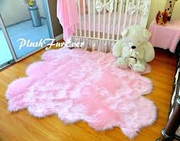 5 x 6 baby pink sheepskin area rug nursery home decor faux fur round