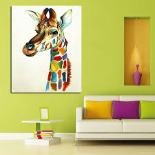 modern handpainted abstract hang pictures colourful giraffe family animal modern oil paintings canvas wall picture home
