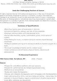 Resume Format For Dance Teacher Dancer Contract Template