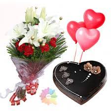 heart shaped cake 1 kg 3 heart balloons and white lilies red roses bouquet