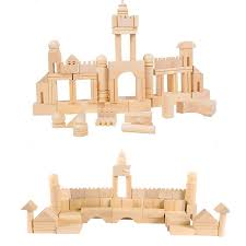 Wooden Bricks Game 100 New Natural Wooden Bucket Building Bricks Assemblage Castle 33