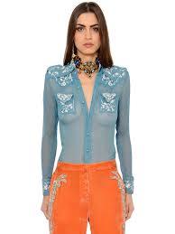 roberto cavalli embroidered silk crepon chiffon shirt lightblue women clothing shirts roberto cavalli shoes
