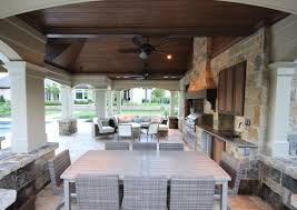 Making An Outdoor Kitchen Interesting Outdoor Kitchen Idea With Bar Stools And Nice Lighting