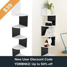 modern 5 tier wall mount corner shelves