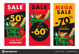 sale flyers flyers set grocery store sale advertising shopping basket full meal