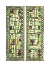 two oversized early 20th century museum quality howard van doren shaw residential stained glass windows accentuated