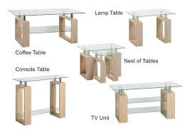 milan glass coffee lamp console nest of tables or tv stand oak effect chrome