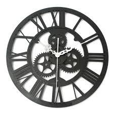 vintage wall clock rustic art big gear wooden handmade home bar cafe decor gift 32cm