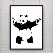 hot panda com armas by banksy graffiti impressão abstrato provocante humor cartaz pintura moderna da lona de arte do retrato da parede sem moldura em