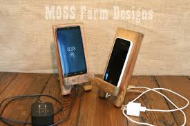 custom made adjule reclaimed wood rustic phone dock iphone stand charging station droid holder