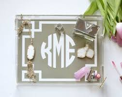 personalized lucite tray hostess gift bathroom catchall